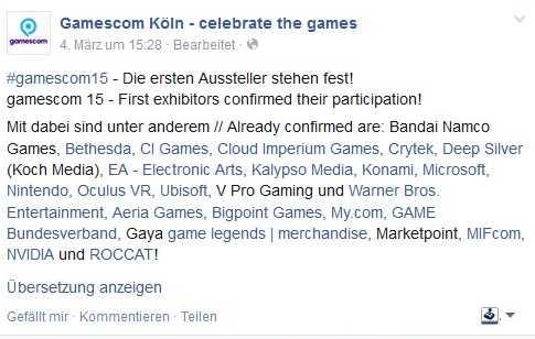 Gamescom 2015 - Das sind die ersten Aussteller