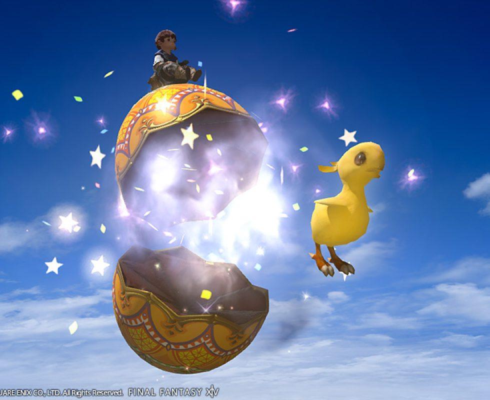 Reittier: Wundereisystem (für einen Charakter) lässt ein Küken schlüpfen Quelle: Final Fantasy XIV ©Square Enix