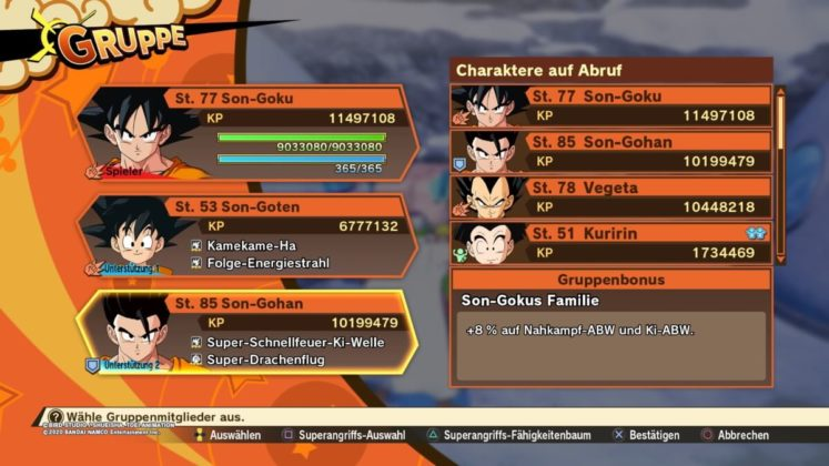 Review DragonballZ Kakarot - Bild05 Gruppe