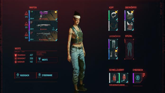 Cyberpunk 2077 PS - Menü